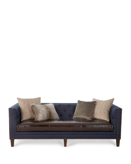 Ivy Leather-Seat Sofa 90""