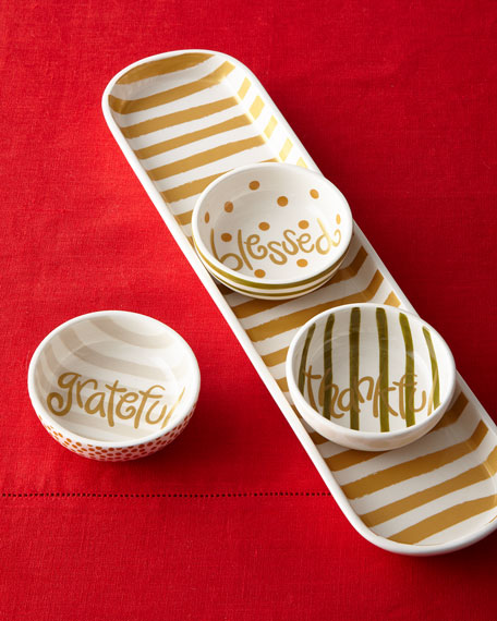 Coton Colors Thanks Gold Stripe Scoop Oval Tray & Dunes Dip Bowls Set
