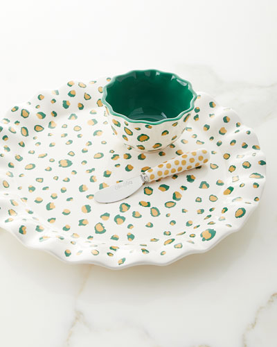 Emerald Double Dot Platter Set