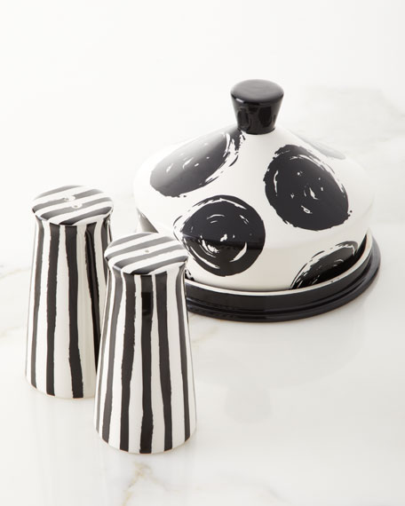 Deco Pedestal Salt and Pepper Shakers with Dot Butter Dish