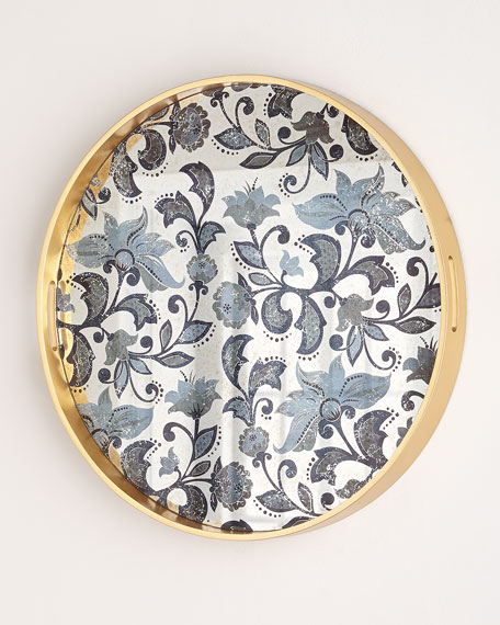 Medium Etch Floral Decorative Tray