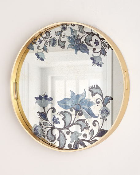 G G Collection Large Etch Floral Decorative Tray
