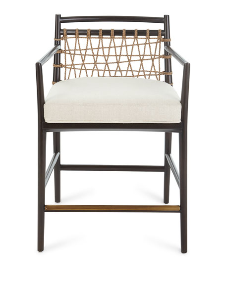 Palecek Lucilla Upholstered and Jute Bar Stool