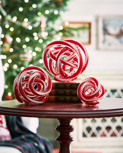Glass Peppermint Holiday Decor  Set of 3