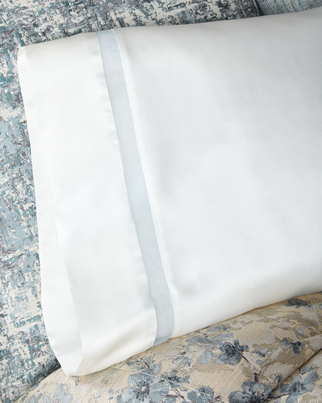 Fino Lino Linen & Lace Amelia Charmeuse Silk Standard Pillowcase with Organza Inset