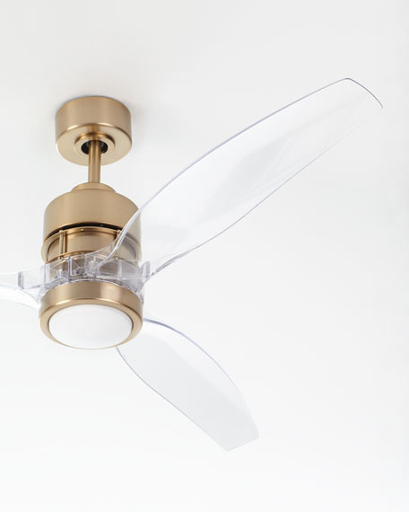 Sonet Satin Brass Ceiling Fan With Acrylic Blades Neiman