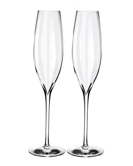 Waterford Crystal Elegance Optic Classic Champagne Flutes, Set of 2