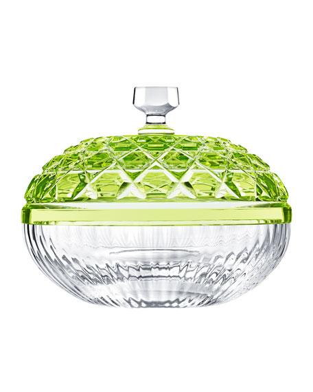 Saint Louis Crystal Royal Small Box, Chartreuse