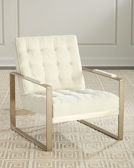Bitsy Button Tufted Metal Chair