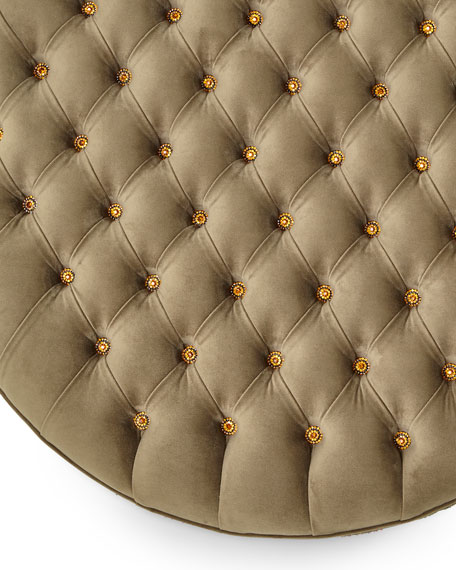 Round Peacock Ottoman