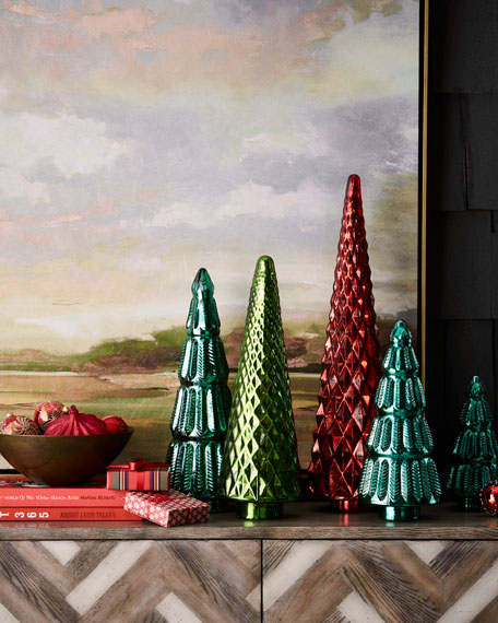 Mercury-Glass Red Hobnail Tabletop Christmas Tree