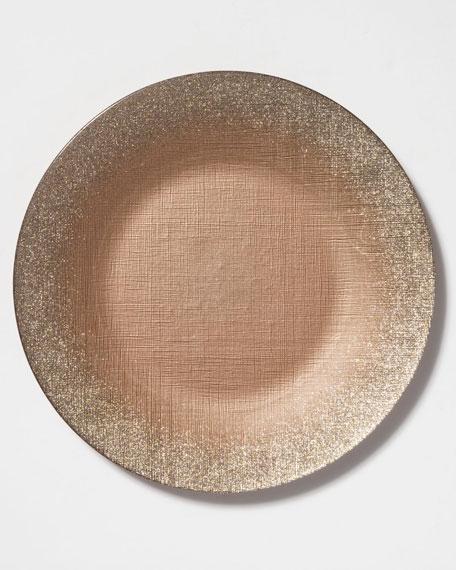 Vietri Glitter Glass Service Plate, Ginger