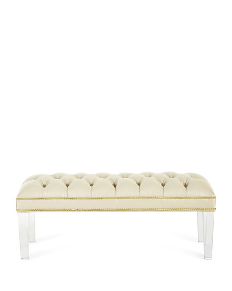 Custan Leather Bench with Acrylic Legs