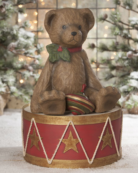 Bethany Lowe Teddy Bear On Drum LG PM