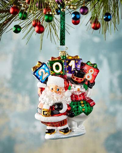 Holding Up Their End Santa & Snowman Christmas Ornament
