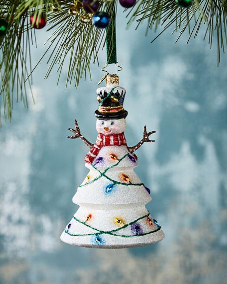 Northern Lights Snowman Christmas Ornament