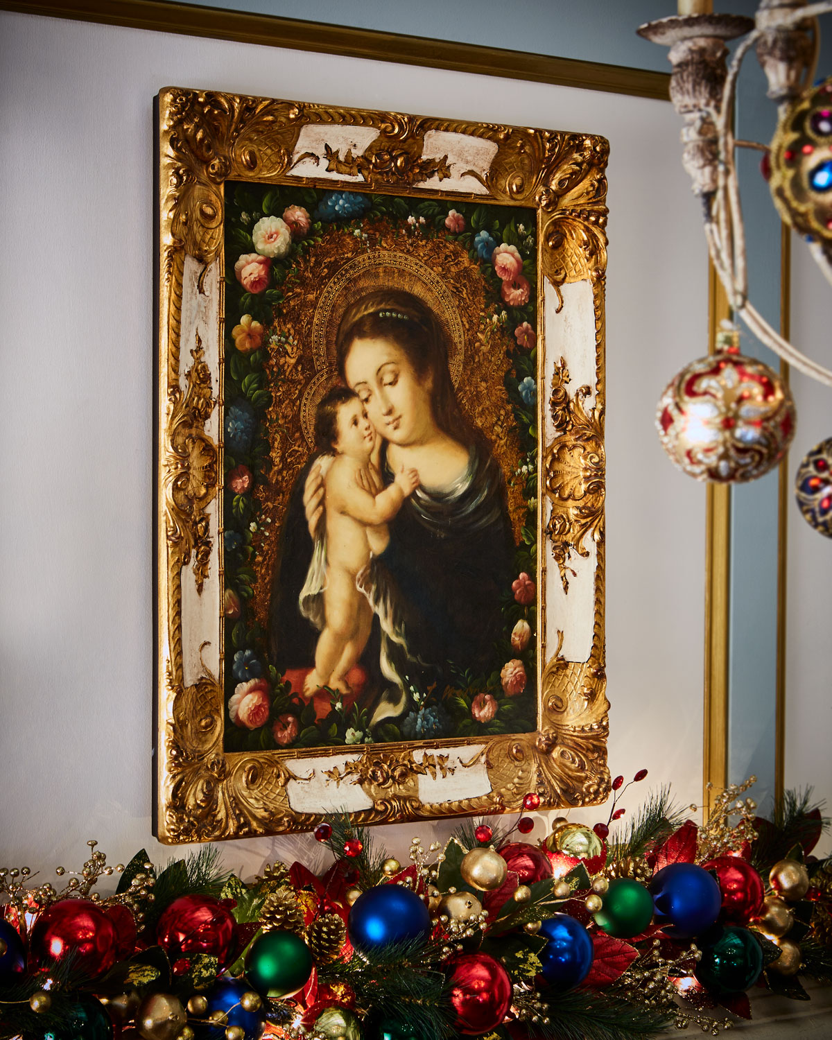 madonna with child christmas decor art in white and gold frame