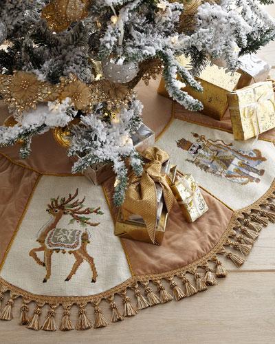 Gold Santa Series Christmas Tree Skirt with Tassels