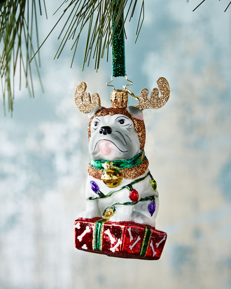 Christopher Radko Deer Little Bulldog Christmas Ornament