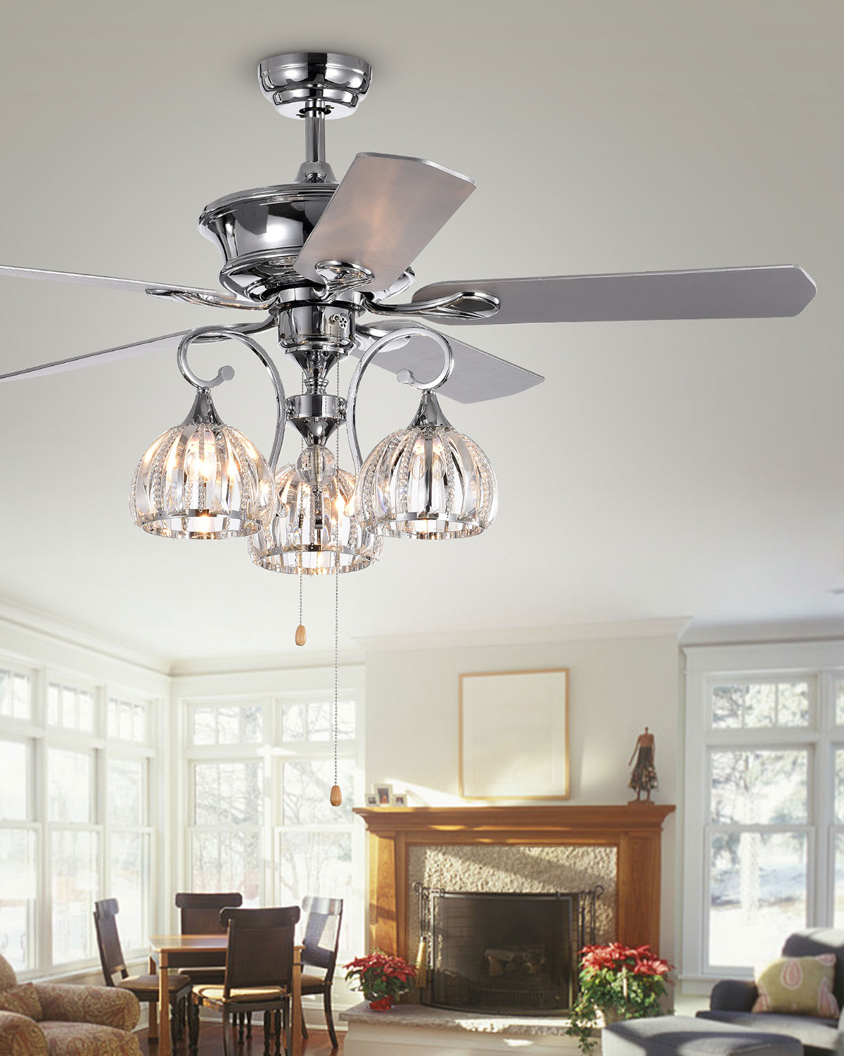 Nickel Finished Ceiling Fan With Light Kit