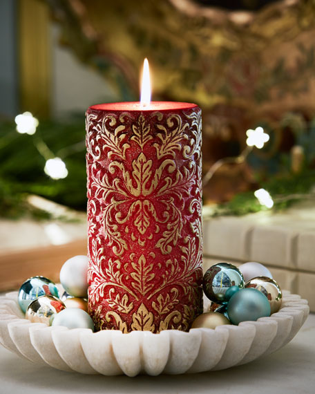 Red & Gold Damask Tall Candle