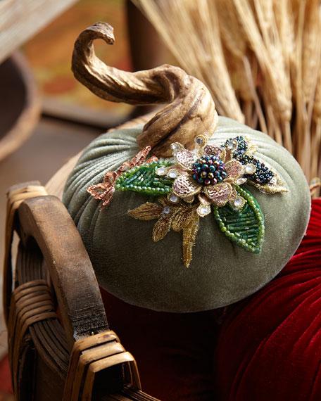 "Katherine's Collection Spice Trader Velvet Pumpkin Decor - Sage (5"")"
