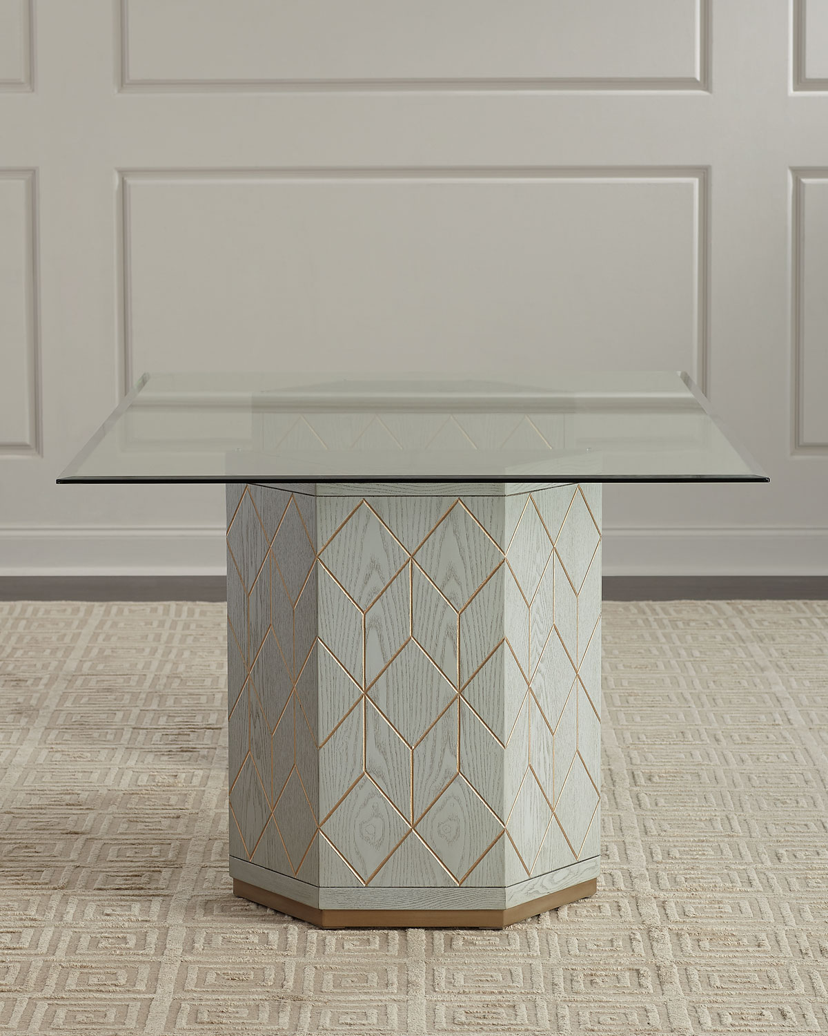 Aurora Double Pedestal Glass Top Dining Table Neiman Marcus