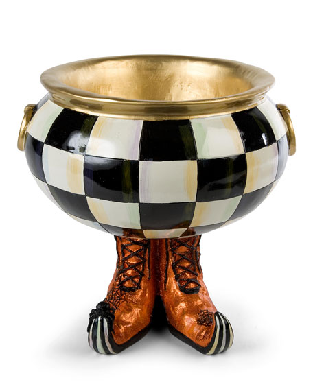 MacKenzie-Childs Courtly Check Cauldron Halloween Candy Bowl