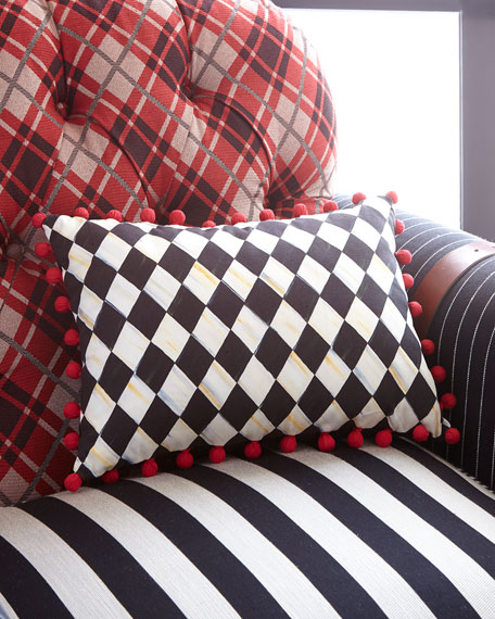 MacKenzie-Childs Courtly Harlequin Pompom Lumbar Pillow - Red
