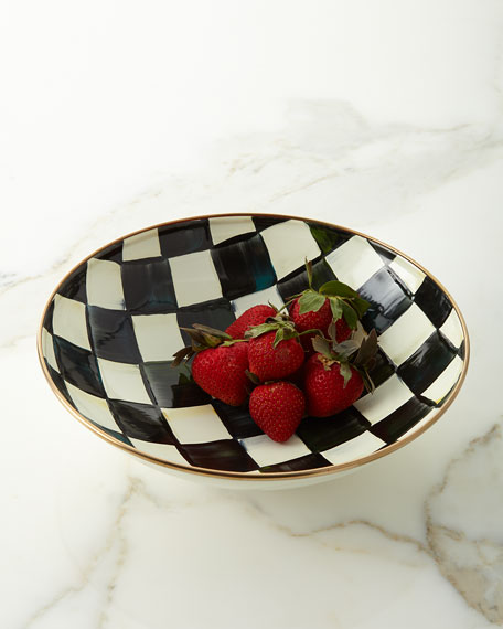 MacKenzie-Childs Courtly Check Enamel Fourmand Coupe Bowl