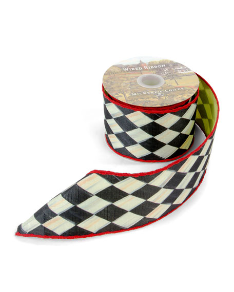 """MacKenzie-Childs Courtly Harlequin Chartreuse-Back Ribbon, 3""""W"""