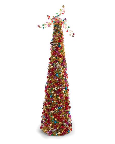 """Bijou Beaded Tabletop Christmas Tree, 22"""""""