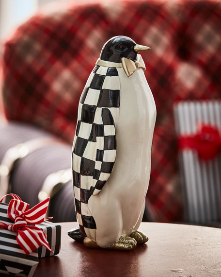 MacKenzie-Childs Courtly Check Small Penguin Statue