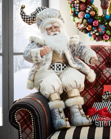 Silver Twinkle Santa Figure