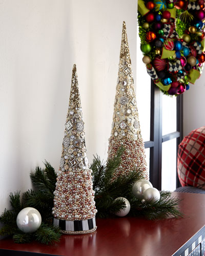 Silver Lining Beaded Small Tabletop Christmas Tree