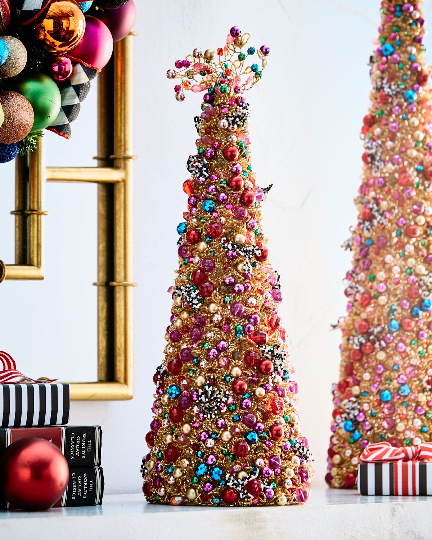 Metal Tabletop Christmas Tree: MacKenzie-Childs Bijou Beaded Tabletop Christmas Tree, 16