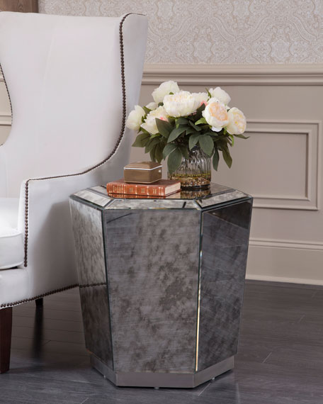 Marcell Antiqued Mirrored End Table