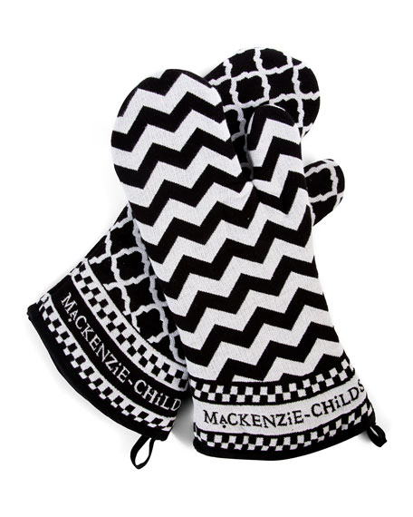 MacKenzie-Childs Black & White Zigzag Oven Mitts