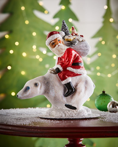 ino schaller santa on polar bear statue - Pre Lit Polar Bear Christmas Decoration Set Of 3