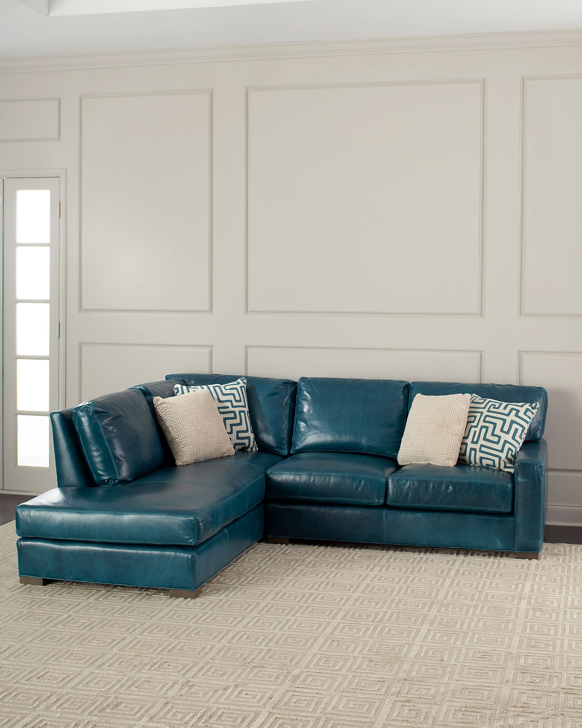 Shariah Leather Left-Chaise Sectional 102\