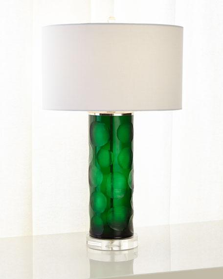 Green Cut Glass Table Lamp