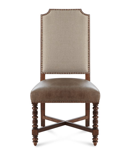 Pair of Wellington Leather Side Chairs