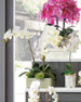 Faux Phalaenopsis Orchid in Square Slate