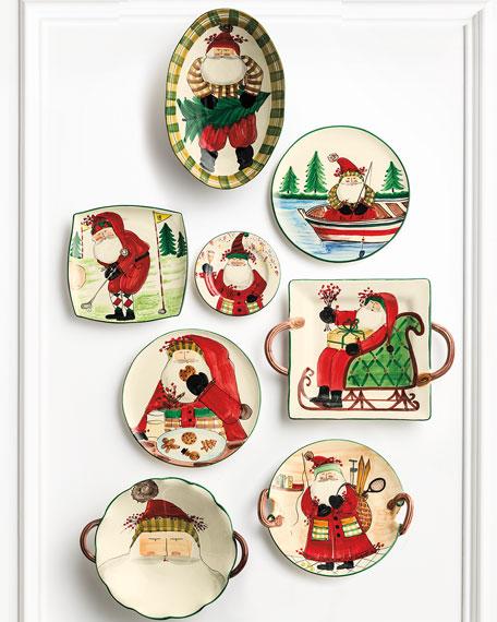 Vietri Old St. Nick Sports Santa Round Handled Platter