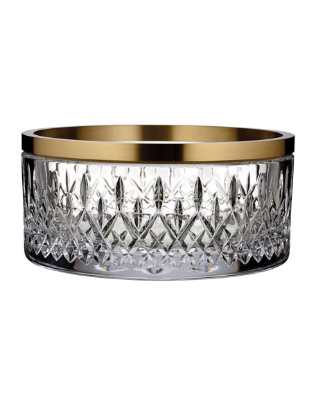 """Waterford Crystal Lismore Reflections Gold Band Bowl, 10"""""""