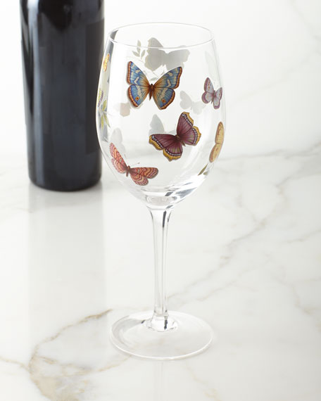 Neiman Marcus Butterfly Applique Wine Glasses, Set of 4