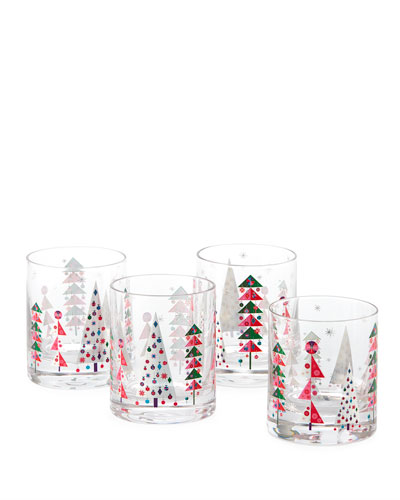 New Crazy Good Cheer Double Old-Fashioned Glasses, Set of 4