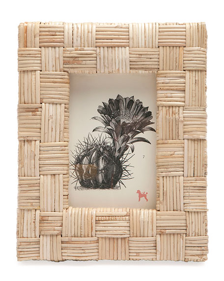 "Pigeon and Poodle Grasse Natural Cane  Picture Frame,  4"" x 6"""