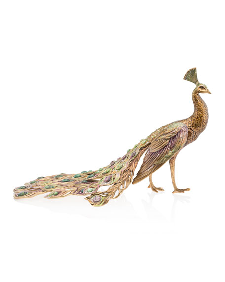 Jay Strongwater Grand Peacock Figurine