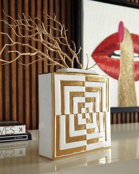 Jonathan Adler Futura Op Art Square Vase
